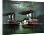 Vintage print featuring the race of steamboats Robert E. Lee and Natchez. by John Parrot