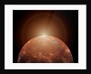 Artist's concept of a distant red planet orbiting its Sun. by Mark Stevenson