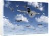 German Focke-Wulf 190 fighter aircraft attack British Lancaster bombers. by Mark Stevenson