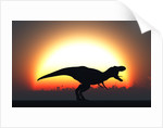A T. Rex silhouetted against the setting Sun at the end of a prehistoric day. by Mark Stevenson