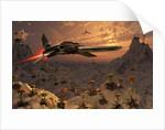 A futuristic Earth ship patrolling a distant alien world. by Mark Stevenson