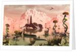 A lone Star Fighter pilot looks around the alien landscape after a crash landing. by Mark Stevenson