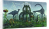A reptoid alien colonist at work on a prehistoric Earth with dinosaurs. by Mark Stevenson