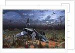 An astronaut surveys the desert like landscape of an alien world. by Mark Stevenson