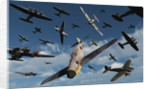 British Supermarine Spitfires attacking German Heinkel bombers and escorts. by Mark Stevenson