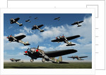German Heinkel bombers taking off from French airfields. by Mark Stevenson