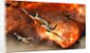 British Supermarine Spitfires bursting through explosive flames. by Mark Stevenson