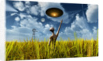 An alien being directing its spacecraft to make crop circles. by Mark Stevenson