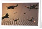 A squadron of Japanese Nakajima torpedo bombers in flight. by Mark Stevenson