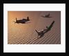 American Vought F4U Corsair aircraft in flight during World War II. by Mark Stevenson