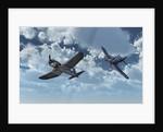 A pair of American Vought F4U Corsair aircraft in flight during World War II. by Mark Stevenson