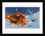 A Royal Air Force Supermarine Spitfire attacking German Stuka dive bombers. by Mark Stevenson