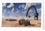 Omeisaurus dinosaurs come into contact with an advanced prehistoric civilization. by Mark Stevenson