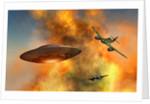 German Messerschmitt 262 jetfighter planes chasing a UFO. by Mark Stevenson