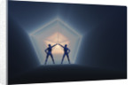 A pair of androids opening up a time and space portal. by Mark Stevenson