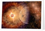 A supernova destroying itself and its planets. by Mark Stevenson