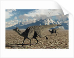 A pair of Velafrons hadrosaurid dinosaurs from the Cretaceous Period. by Mark Stevenson