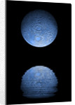 Artist's depiction of a heavily cratered blue moon rising over a body of calm water. by Marc Ward
