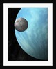 A heavily cratered moon in orbit around a water covered planet. by Marc Ward