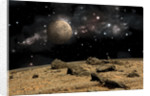 A moon rises over a rocky and barren alien landscape. by Marc Ward
