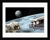 Astronauts performing work on a space station while orbiting an alien world with moonrise. by Marc Ward