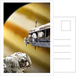 Astronauts performing work on a space station while orbiting a Jupiter-like planet. by Marc Ward