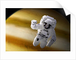 An astronaut floating in space above a large alien planet. by Marc Ward
