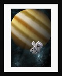 An astronaut floating in space in front of a Jupiter-like planet. by Marc Ward