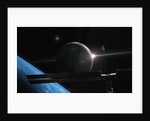 Illustration of an astronaut in orbit over earth-like planet system with space station. by Roth Ritter