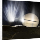 Plumes of ice crystals rise from geysers into the sunlight as dawn breaks on Enceladus. by Ron Miller