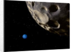 Neptune seen from its tiny, distant moon, Nereid. by Ron Miller