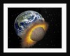 Earth colliding with a Mars-sized planet. by Ron Miller