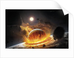 Apocalyptic space scene with two colliding planets. by Tobias Roetsch