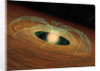 A dusty planet-forming disk in orbit around a whirling young star. by Anonymous