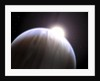 An extrasolar planet with its parent star peeking above its top edge. by Anonymous