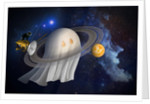 An artist's Halloween illustration of Cassini and Saturn. by Anonymous