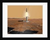 Artist's concept of an ascent vehicle leaving Mars. by Anonymous