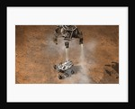 Artist's concept of NASA's Curiosity rover touching down onto the Martian surface. by Anonymous