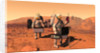 Artist's concept of astronauts setting up weather monitoring equipment on Mars. by Anonymous