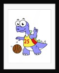 Illustration of a Stegosaurus playing basketball. by Stocktrek Images
