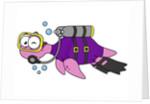 Illustration of a Loch Ness Monster scuba diver. by Stocktrek Images