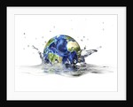 Planet Earth falling into clear water, forming a crown splash. by Leonello Calvetti