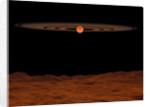 A view across a hypothetical barren alien planet towards a brown dwarf in the sky. by Walter Myers