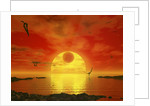 Flying life forms grace the crimson skies of the earth-like extrasolar planet Gliese 581 c. by Walter Myers