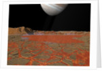 Artist's concept of a view across a pool of lava on the surface of Io, towards Jupiter. by Walter Myers
