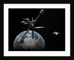 Artist's concept of a lunar cycler approaching Earth. by Walter Myers