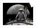 An astronaut takes a last look at Earth before entering orbit around the moon. by Walter Myers