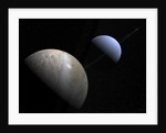 Illustration of the gas giant planet Neptune and its largest moon Triton. by Walter Myers