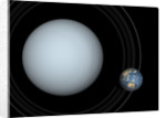 Artist's concept of Uranus and Earth to scale. by Walter Myers
