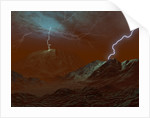 Artist's concept of lightning in Venus' clouds. by Walter Myers